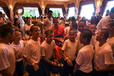 Thai Cave Boys Complete Nine Day Ordination as Novice Monks